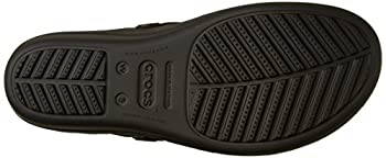 Crocs Women's Sanrah Embellished Flip Wedge Sandal, Blacksilver Metallic, 9 M Us 2
