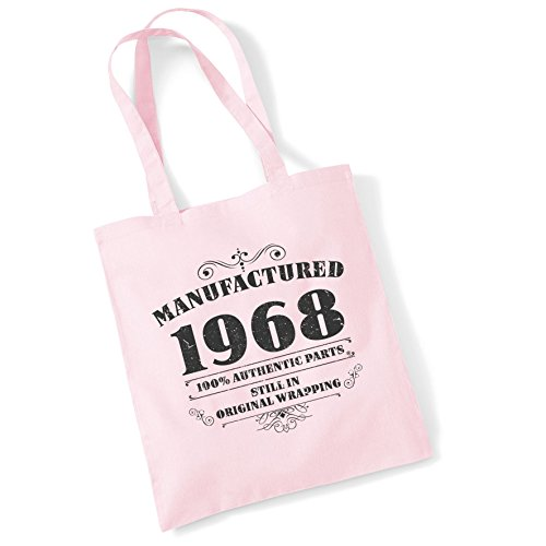 1968 Tote Women Ppink Printed Gifts Shopper Bags Cotton Manufactured For Bag HqUUZp