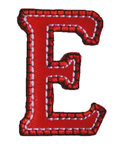 (TrickyBoo Iron-On Letter Patch Craft Applique E Red Blue 5Cm For Jeans Crafts Names Fabric Clothing To Iron On Cushion Jacket Hat Cap Dresses Bag Hat Cushion Skirt Ceiling Hat)