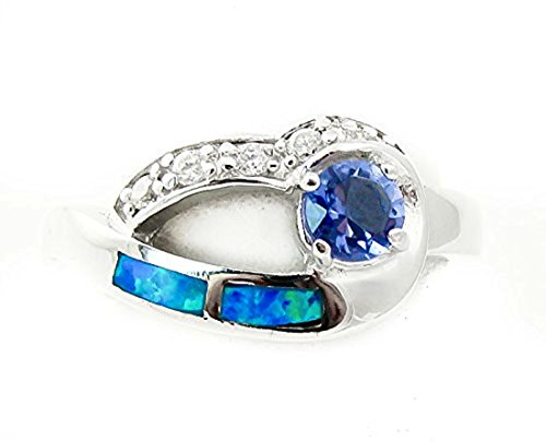 Tanzanite Blue Fire Opal Inlay Cubic Zirconia Ring Size - Ring Fire Tanzanite Opal