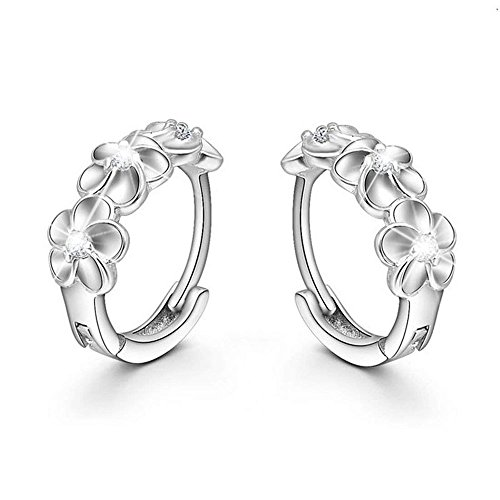 Wcysin 1Pair Cute Silver Tea Flower Hoop Stud Earrings for Women Girls