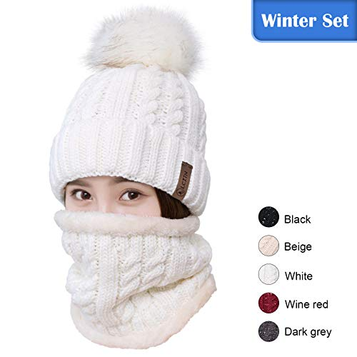 LCZTN Womens Pom Beanie Hat Scarf Set Girls Cute Winter Ski Hat Slouchy Knit Skull Cap with Fleece Lined - Fully Lined Winter Hat