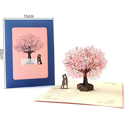 Ouniman Cherry Blossom Pop Up Card, 3D Card, Romance, Tree, Anniversary, Spring Card for Valentines Day, Mothers Day, Father 's Day, Anniversary Greeting Cards Unique Original Handmade Gift -