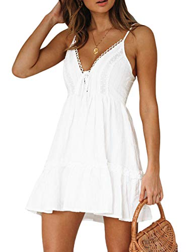 Women's Sexy V-Neck Spaghetti Strap Lace Front Tie Cross Sleeveless Elastic Waist Mini Summer Dress White