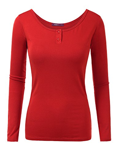 doublju-women-simple-colorful-3-4-sleeve-big-size-t-shirt-red2xl
