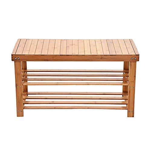 Micozy Bamboo Shoe Rack Bench 3-Tier Free Standing Wood Shoe