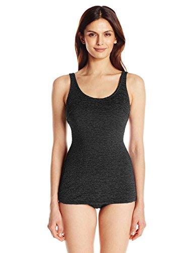 Penbrooke Women's Krinkle Chlorine-Proof D-Cup Sheath One Piece Swimsuit, Black, 14