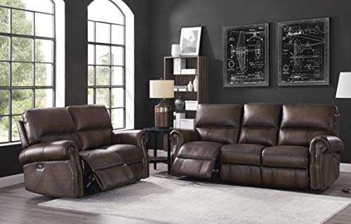 Hydeline Raymond Power Leather Reclining Sofa Set, Brown (Sofa, Loveseat)