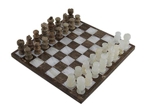 大理石チェスゲームブラウンandホワイト大理石とオニキスチェスセット103/ 4インチボード10.75X 0.5X 10.75インチマルチカラーモデル# 395-chess-mb