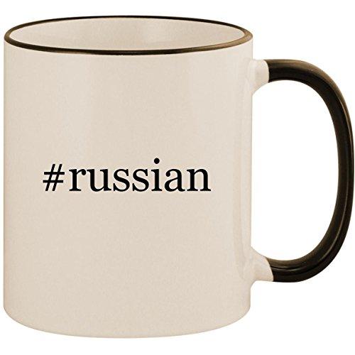 #russian - 11oz Ceramic Colored Handle & Rim Coffee Mug Cup, Black