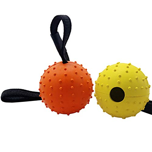 (Vivifying Dog Ball on a Rope, 2 Pack Natural Interactive Rubber Ball for Fetch, Catch, Throw and Tug of War)