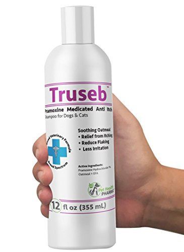 Truseb | #1 Anti-Itch Medicated Shampoo with Pramoxine Hydrochloride 1% Colloidal Oatmeal for Cat and Dog, Eczema Relief from Itching,Irritation and Flaking Caused by Seborrhea Dermatitis Made in USA