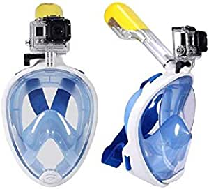 قناع لكامل الوجه مقاس كبير مضاد للضباب غير قابل للانفصال وجاف، قناع الغوص سكوبا -أزرق