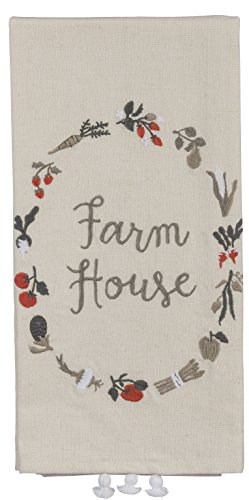 Primitives by Kathy Farm House Kitchen Towel - Embroidered Wreath of Garden Vegetables - 20