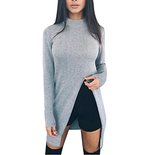 Women Sexy Turtleneck Long Sleeve Front Split Party Clubwear Tops Sweater Blouse Grey L