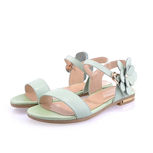 Heels Cow Green Buckle Low WeenFashion Solid Open Women's Sandals Toe Leather qItFqAOw