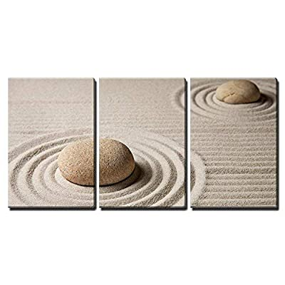3 Piece Canvas Wall Art - Mini Zen Garden - Modern Home Art Stretched and Framed Ready to Hang - 16