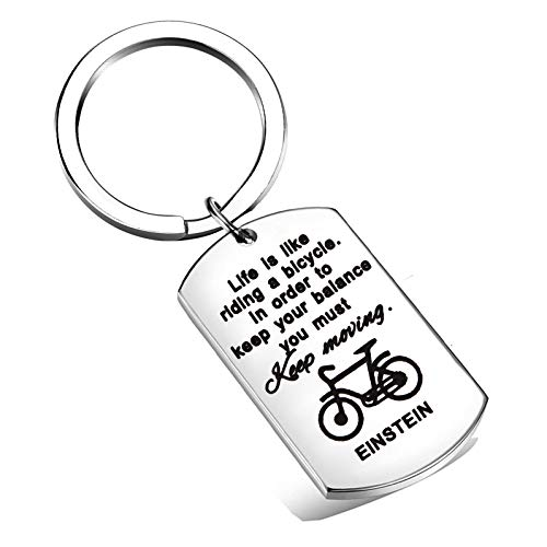 FEELMEM Life is Like Riding a Bicycle Albert Einstein Keychain Inspirational Keyring Gift for Best Friend (Silver)