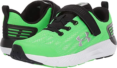 Under Armour Boys' Pre School Rogue Alternate Closure Sneaker, Zap Green (300)/White, 13K