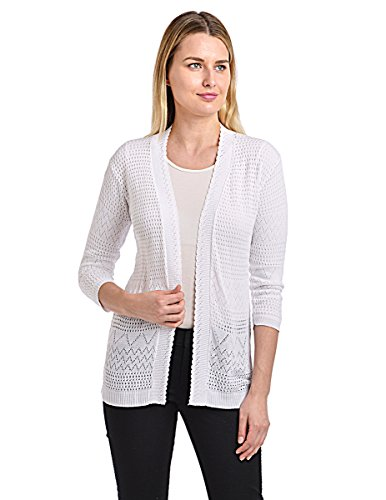 Knit Minded Junior's Pointelle ¾ Sleeve Flyaway Geometric Cardigan, White, ()