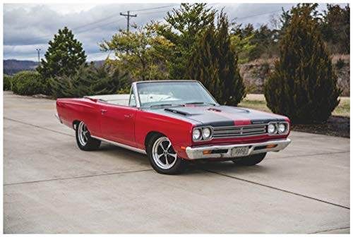 Plymouth Road Runner Convertible (1969) Car Art Poster Print on 10 Mil Archival Satin Paper Red Front Side Static View (18