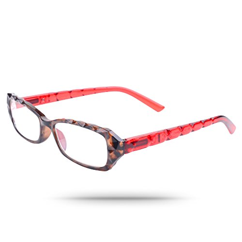 Darling Eyeglasses - Embossed Origami Textured Women's Rectangular Reading Eyeglasses in Cruel Darling Red (1.5)