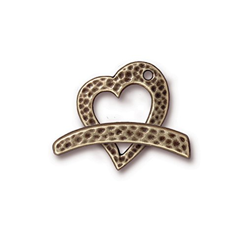 TierraCast Toggle Hammered Heart, 21mm, Antique Brass Oxide Finish Pewter, 2-Set/Pack ()