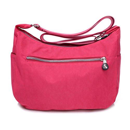 TianHengYi - Borsa a tracolla donna, Rosso (rosa), Medium