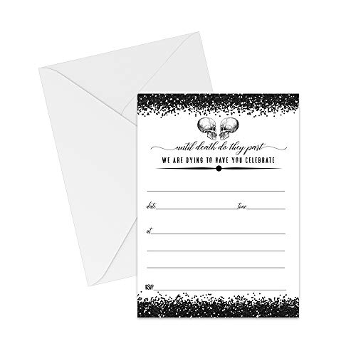 Halloween Engagement Party Invitations (Glam Skull Invitations and Envelopes (25 Pack) Halloween Bridal Shower Engagement Rehearsal Wedding)