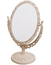 6-inch Tabletop Vanity Makeup Mirror with 3X Magnification, Two Sided ABS Decorative Framed European for Bathroom Bedroom Dressing Mirror Table- Oval Pink