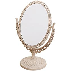 XPXKJ 7-Inch Tabletop Vanity Makeup Mirror with 3X Magnification, Two Sided ABS Decorative Framed European for Bathroom Bedroom Dressing Mirror (Table- Oval)