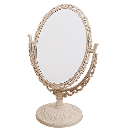 - XPXKJ 7-Inch Tabletop Vanity Makeup Mirror with 3X Magnification, Two Sided ABS Decorative Framed European for Bathroom Bedroom Dressing Mirror (Table- Oval)