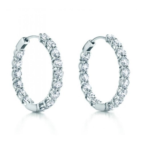 4.00 ct ttw Ladies Round Cut Diamond Inside Outside Hoop Earrings ()