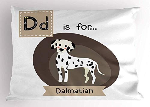 K0k2t0 Dalmatian Pillow Sham, Letter D Alphabet Quotation Puppy Children Zoo Kids Vocabulary in Cartoon Style, Decorative Standard Queen Size Printed Pillowcase, 30 X 20 Inches, Multicolor -