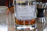Street Maps Glassware, Hometown City Rocks Glass - One Glass (mapwsky)