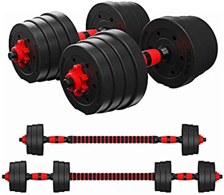 Tespon Adjustable Dumbbells Barbell 2 in 1 with Connector, Adjustable Dumbbell Barbell Sets Total 66lbs, Lifting Dumbells for Body Workout Home Gym(2020 Upgrade,One Pair)