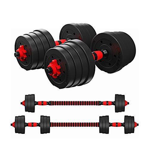 Tespon Adjustable Dumbbells Barbell 2 in 1 with Connector, Adjustable Dumbbell Barbell Sets,Lifting Dumbells for Body…