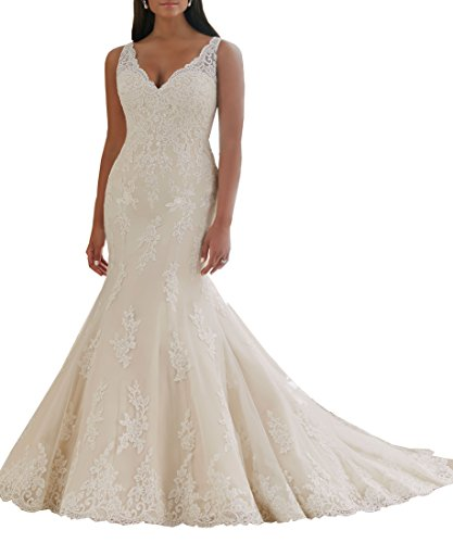 Women's Plus Size Bridal Ball Gown Lace Mermaid Wedding Dress For Bride Long 2018 With Train Ivory US12 by WuliDress