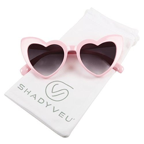 ShadyVEU Trendy Heart Shaped Love Colorful Baby Girl Toddler Ages 2-6 Yrs. Oversize Kids Sunglasses (Pink, Black Lens)
