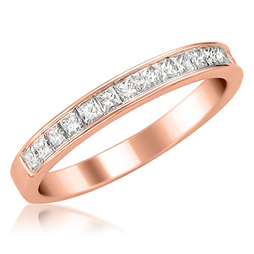 Amazon.com  14k Rose Gold Princess-cut Diamond 16-stone Bridal Wedding Band  Ring (1 2 cttw 80e10dd24028