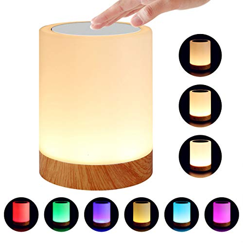 e Caring Touch Lamp for Bedrooms Living Room Portable Table Bedside Lamps with Rechargeable Internal Battery Dimmable Warm White Light & Color Changing RGB ()