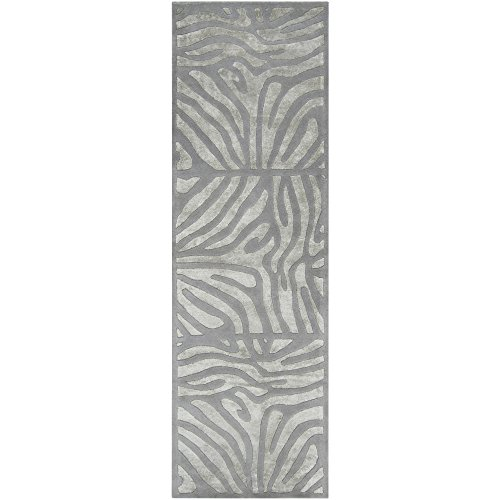 Candice Olson by Surya Modern Classics CAN-1935 Contemporary Hand Tufted 100% New Zealand Wool Silvered Gray 2'6'' x 8' Animal Runner by Surya
