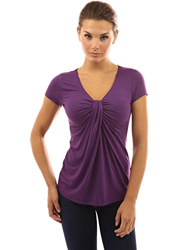 - PattyBoutik Women's V Neck Twist Knot Front Short Sleeve Top (Dark Purple XL)