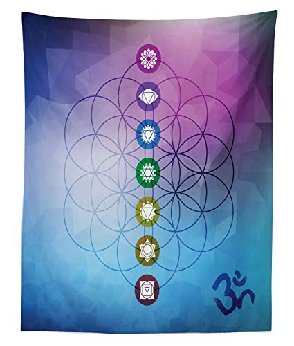 Lunarable Sacred Geometry Tapestry Twin Size, Seven Chakras on a Flower of Life Motif with Fractal Ombre Effect Backdrop, Wall Hanging Bedspread Bed Cover Wall Decor, 68 W X 88 L Inches, Multicolor