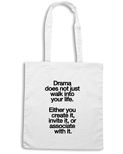 T-Shirtshock - Bolsa para la compra CIT0067 Drama does not just walk into your life Blanco