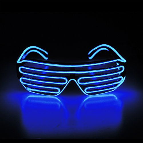 Aquat Light Up Flashing Shutter Neon Rave Glasses El Wire LED Sunglasses Voice Activated Glow DJ Costumes For 80s, EDM, Party RB02