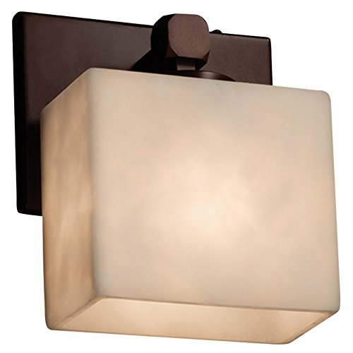 (Justice Design Group Lighting CLD-8427-55-DBRZ Justice Design Group - Clouds - Tetra 1-Light Wall Sconce - Dark Bronze Finish with Clouds)