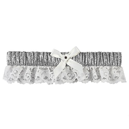 Ivy Lane Design Lily Garter with White Bow, Metallic Silver