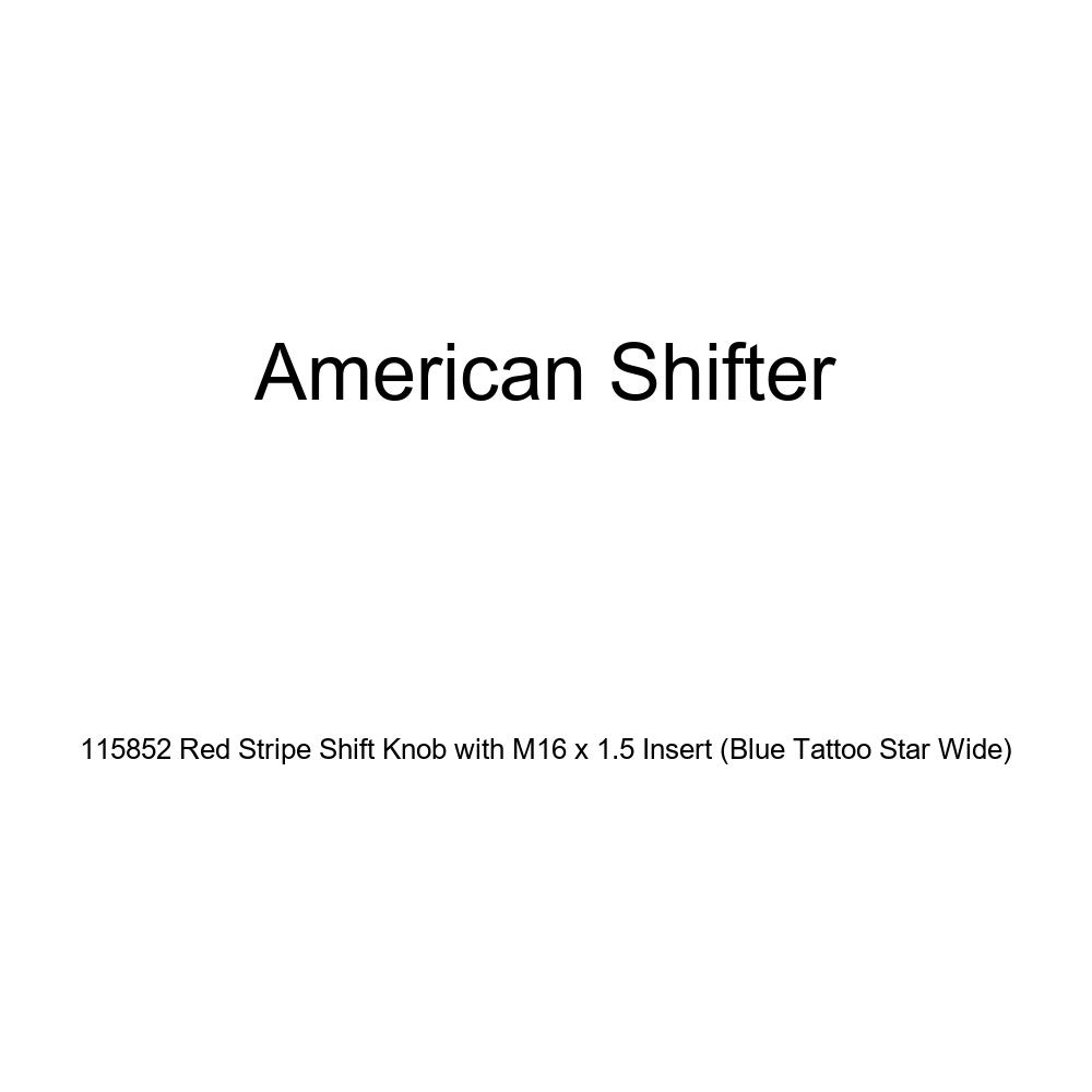 American Shifter 115852 Red Stripe Shift Knob with M16 x 1.5 Insert Blue Tattoo Star Wide