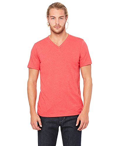Bella 3005 Unisex Jersey Short Sleeve V-Neck Tee - Heather Red44; Extra Large